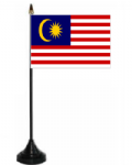 Malaysia Desk / Table Flag with plastic stand and base.
